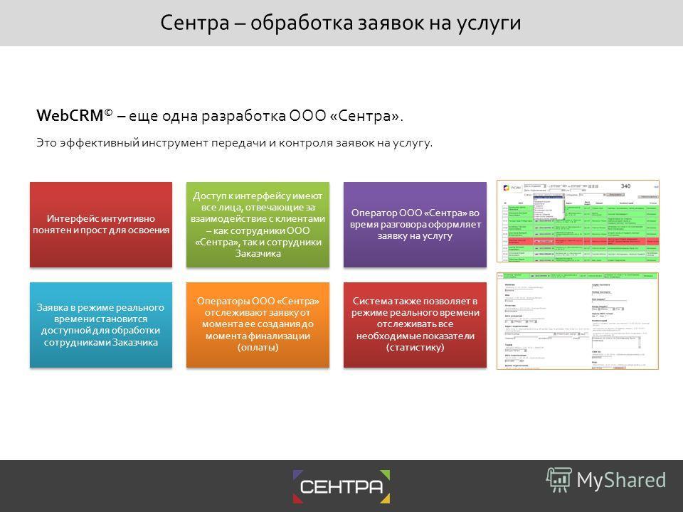 WebCRM © – еще одна разработка ООО «Сентра». Это эффективный инструмент передачи и контроля заявок на услугу. Интерфейс интуитивно понятен и прост для освоения Доступ к интерфейсу имеют все лица, отвечающие за взаимодействие с клиентами – как сотрудн