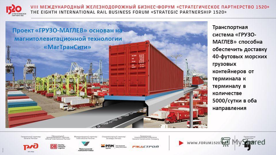 Транспортная система «ГРУЗО- МАГЛЕВ» способна обеспечить доставку 40-футовых морских грузовых контейнеров от терминала к терминалу в количестве 5000/сутки в оба направления Проект «ГРУЗО-МАГЛЕВ» основан на магнитолевитационной технологии «Маг ТранСит