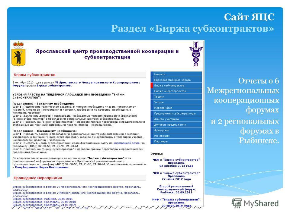 Сайт ЯЦС Раздел «Биржа субконтрактов» Отчеты о 6 Межрегиональных кооперационных форумах и 2 региональных форумах в Рыбинске.