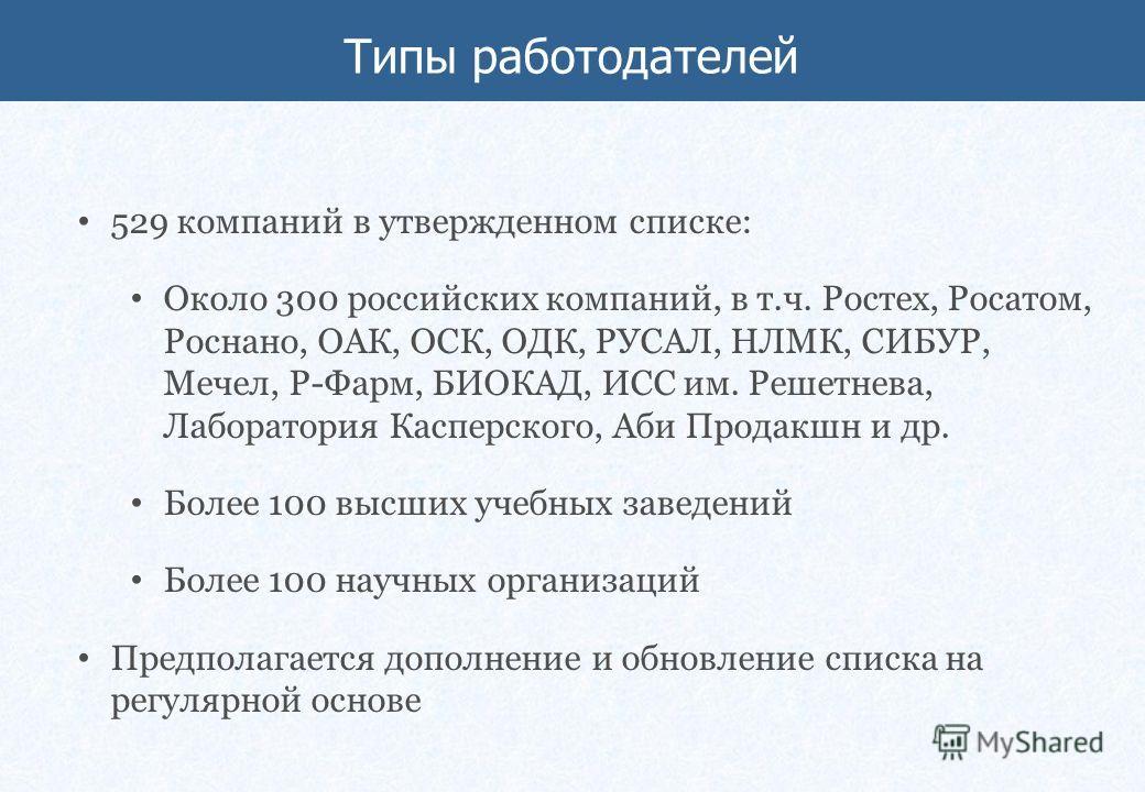 529 компаний в утвержденном списке: Около 300 российских компаний, в т.ч. Ростех, Росатом, Роснано, ОАК, ОСК, ОДК, РУСАЛ, НЛМК, СИБУР, Мечел, Р-Фарм, БИОКАД, ИСС им. Решетнева, Лаборатория Касперского, Аби Продакшн и др. Более 100 высших учебных заве