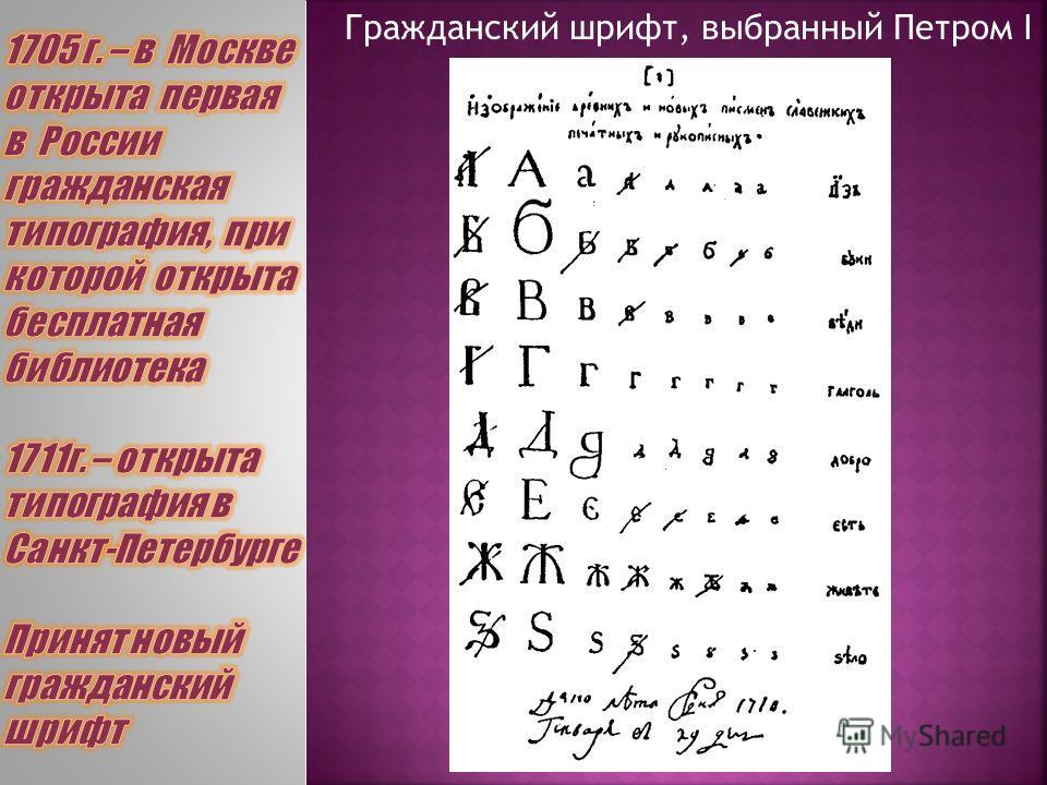Гражданский шрифт, выбранный Петром I