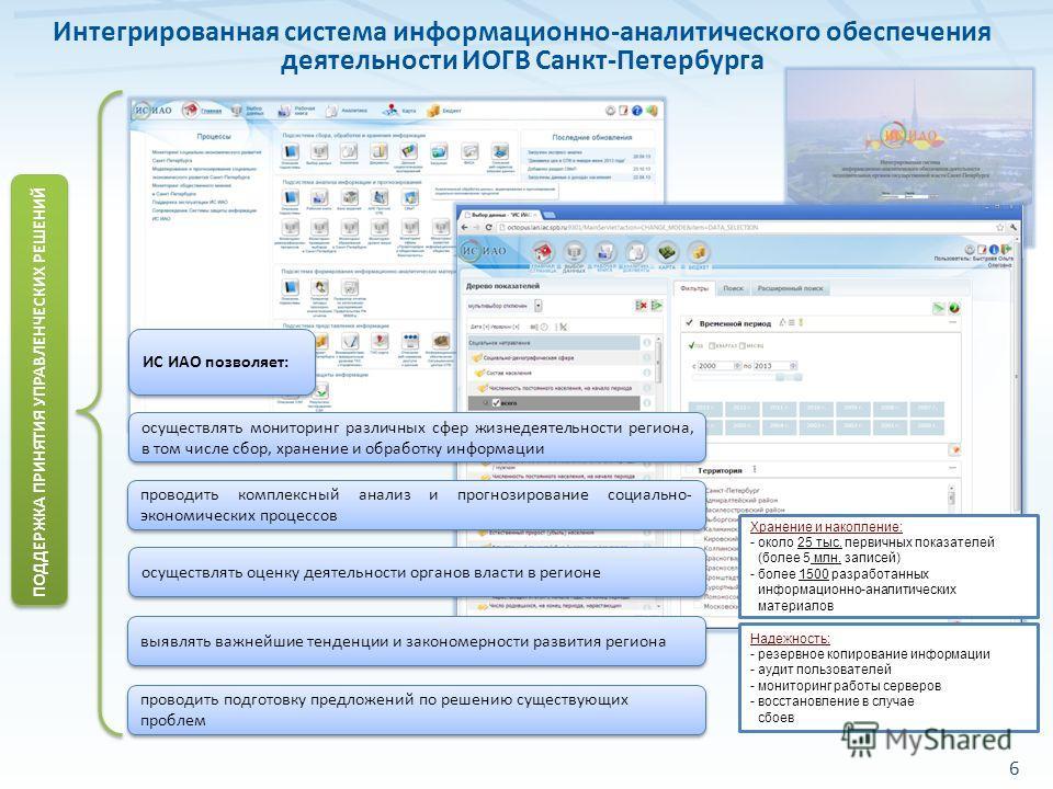 6 Интегрированная система информационно-аналитического обеспечения деятельности ИОГВ Санкт-Петербурга ИС ИАО позволяет: проводить подготовку предложений по решению существующих проблем ПОДДЕРЖКА ПРИНЯТИЯ УПРАВЛЕНЧЕСКИХ РЕШЕНИЙ проводить комплексный а