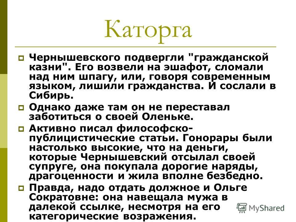 Каторга Чернышевского подвергли