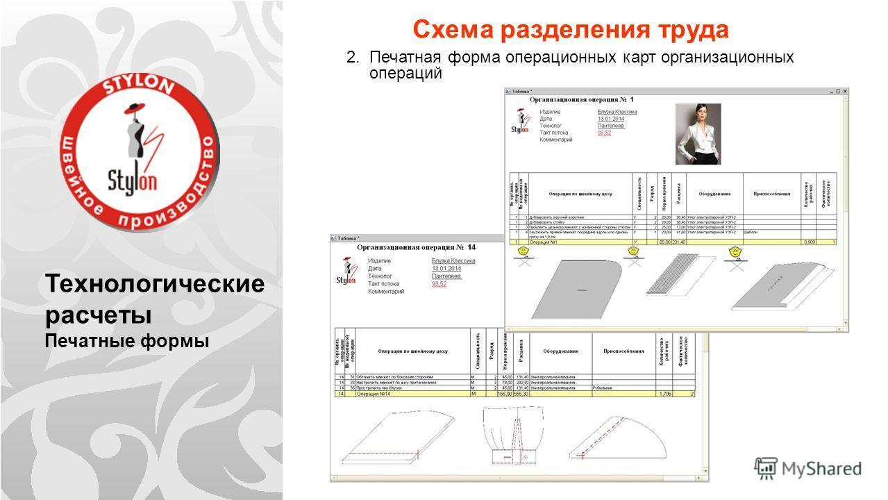 Технологические расчеты Печатные формы Схема разделения труда 2. Печатная форма операционных карт организационных операций