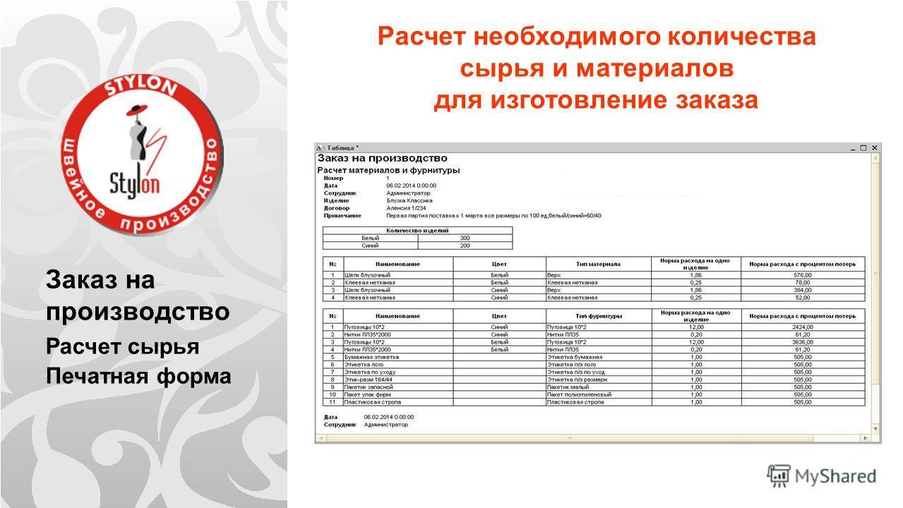 Заказ на производство Расчет сырья Печатная форма Расчет необходимого количества сырья и материалов для изготовление заказа