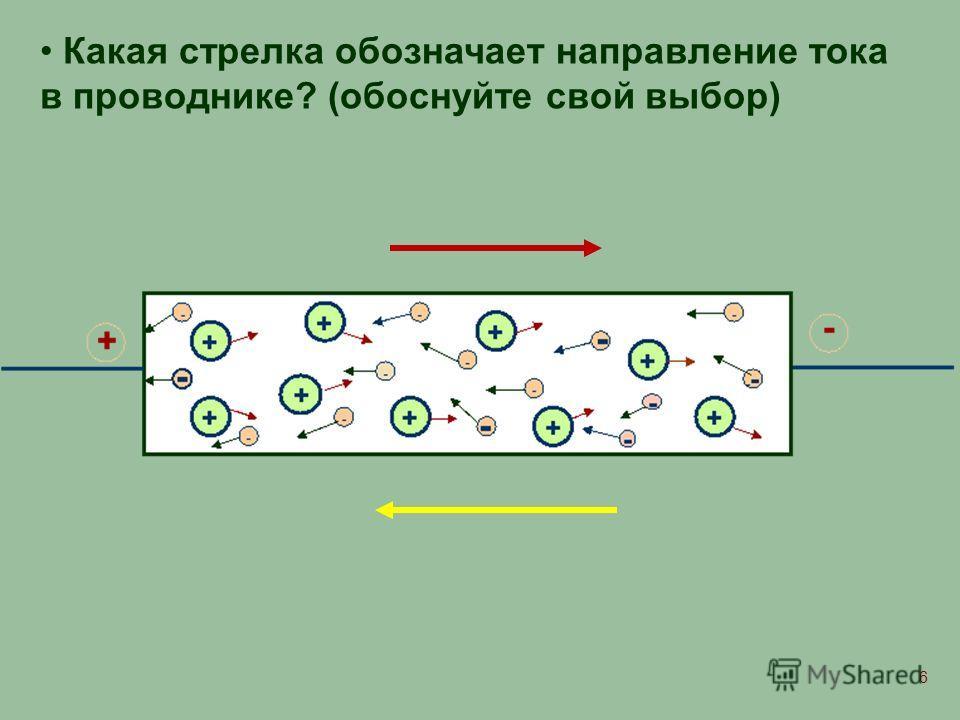 6 Какая стрелка обозначает направление тока в проводнике? (обоснуйте свой выбор)