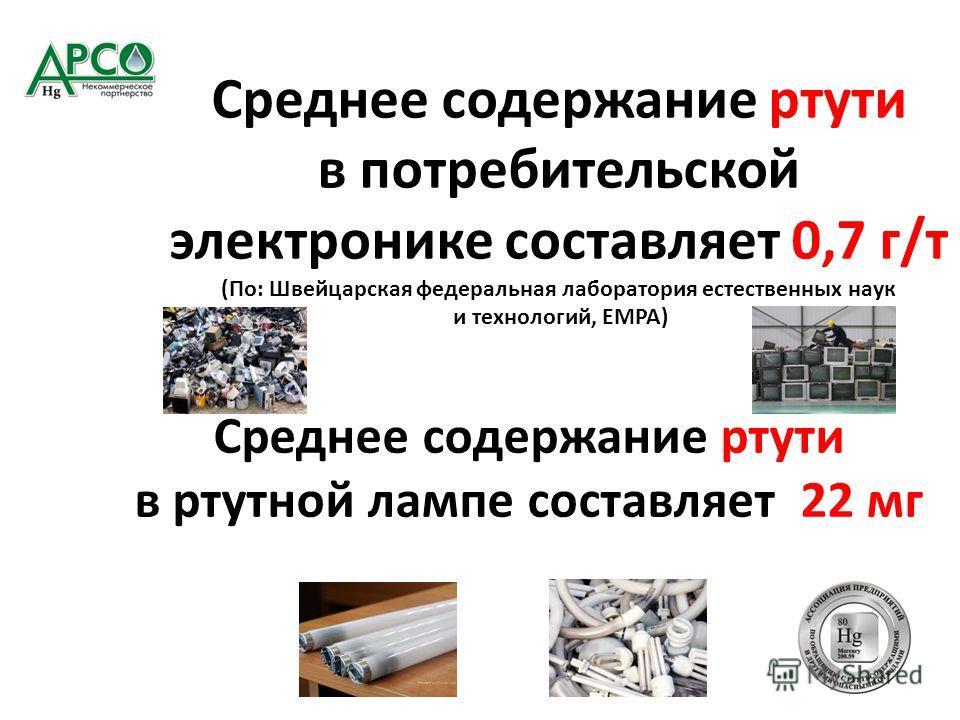 Среднее содержание ртути в потребительской электронике составляет 0,7 г/т (По: Швейцарская федеральная лаборатория естественных наук и технологий, EMPA) Среднее содержание ртути в ртутной лампе составляет 22 мг