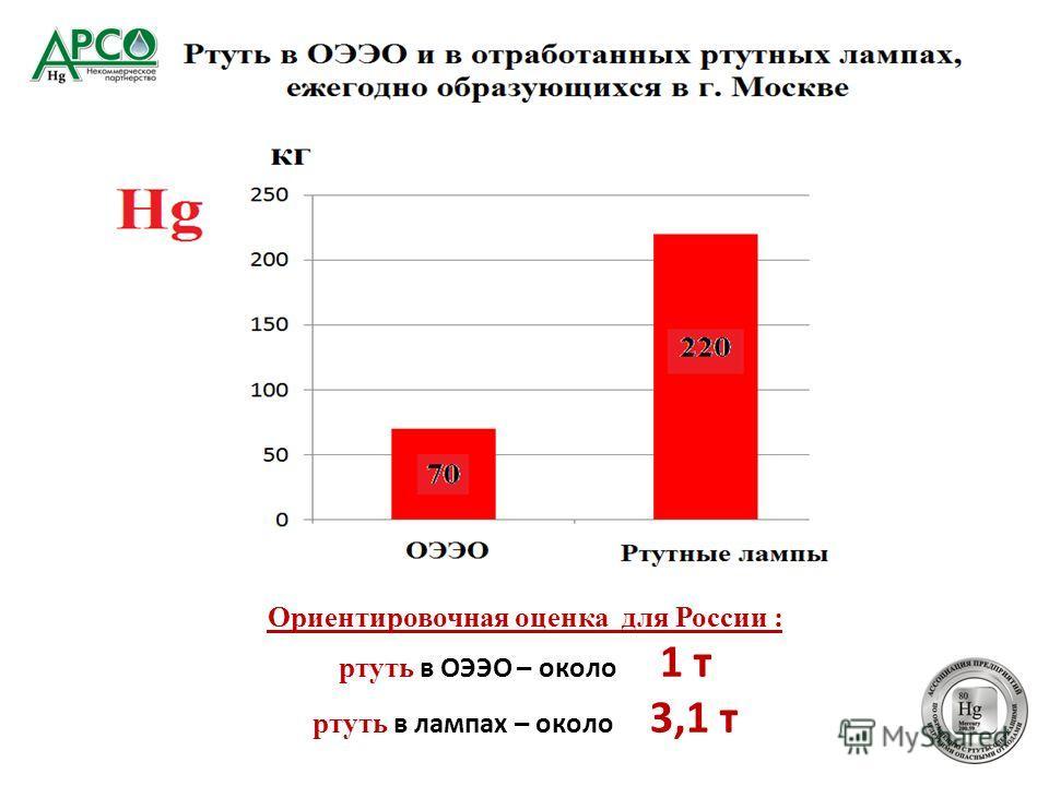 Ориентировочная оценка для России : ртуть в ОЭЭО – около 1 т ртуть в лампах – около 3,1 т