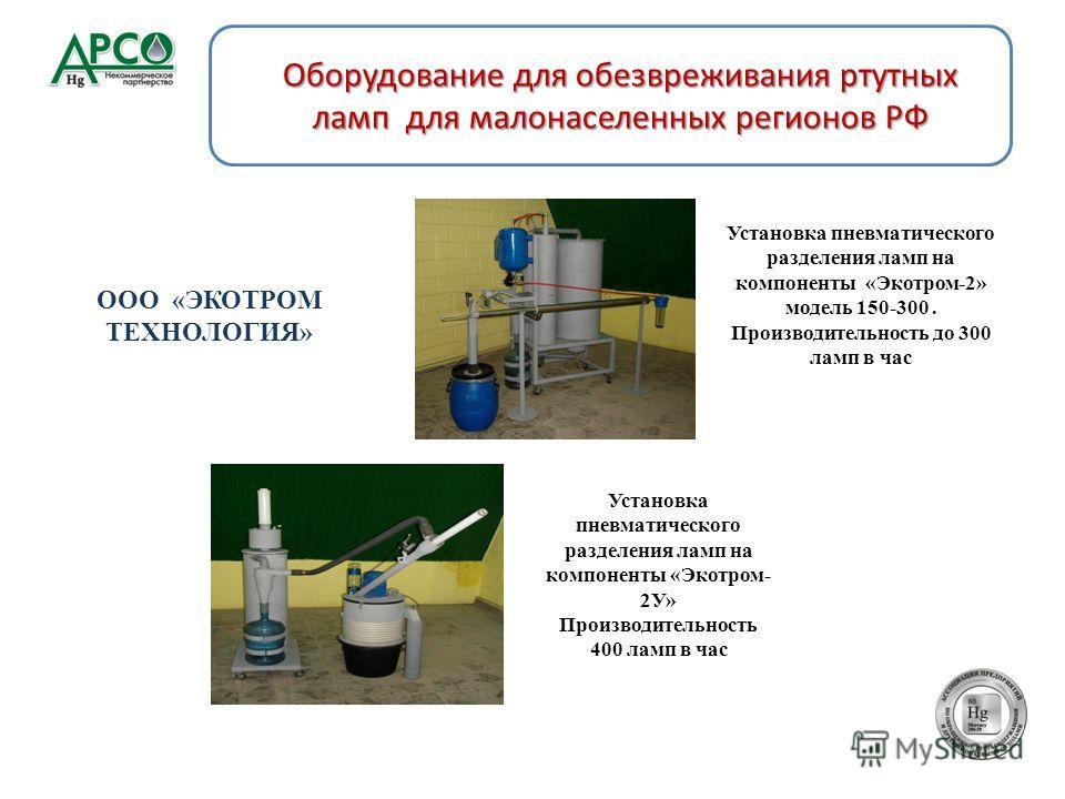 Установка пневматического разделения ламп на компоненты «Экотром-2» модель 150-300. Производительность до 300 ламп в час Установка пневматического разделения ламп на компоненты «Экотром- 2У» Производительность 400 ламп в час Оборудование для обезвреж