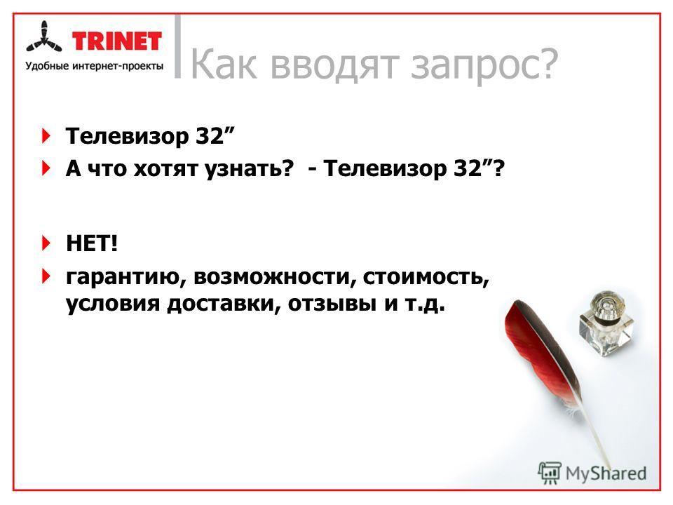 Как вводят запрос? Телевизор 32 А что хотят узнать? - Телевизор 32? НЕТ! гарантию, возможности, стоимость, условия доставки, отзывы и т.д.