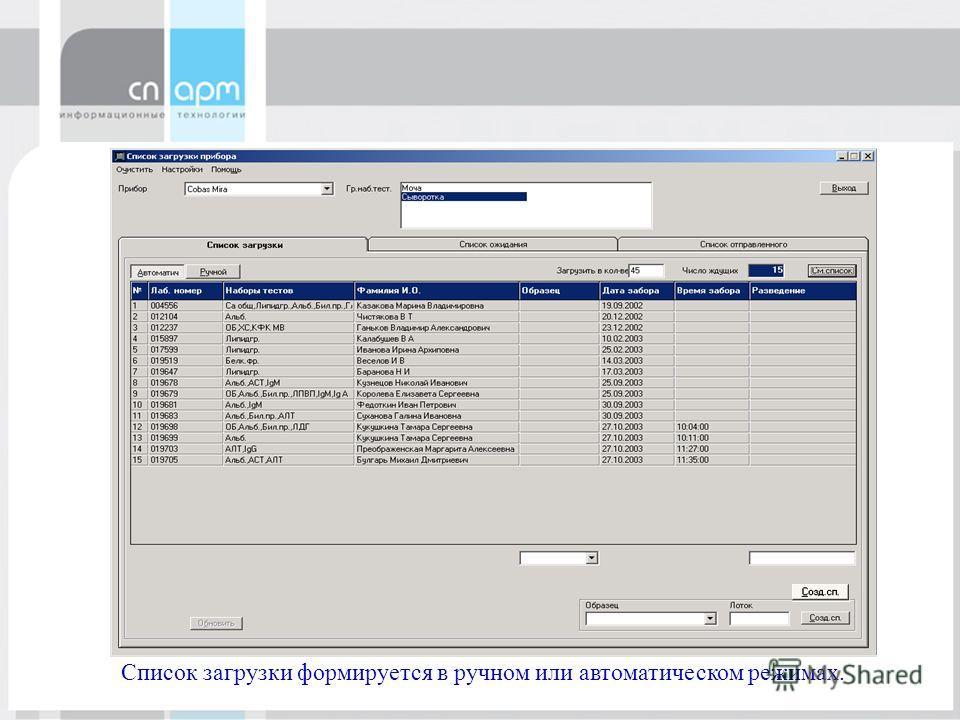 СП.АРМLabTrak Список загрузки формируется в ручном или автоматическом режимах.