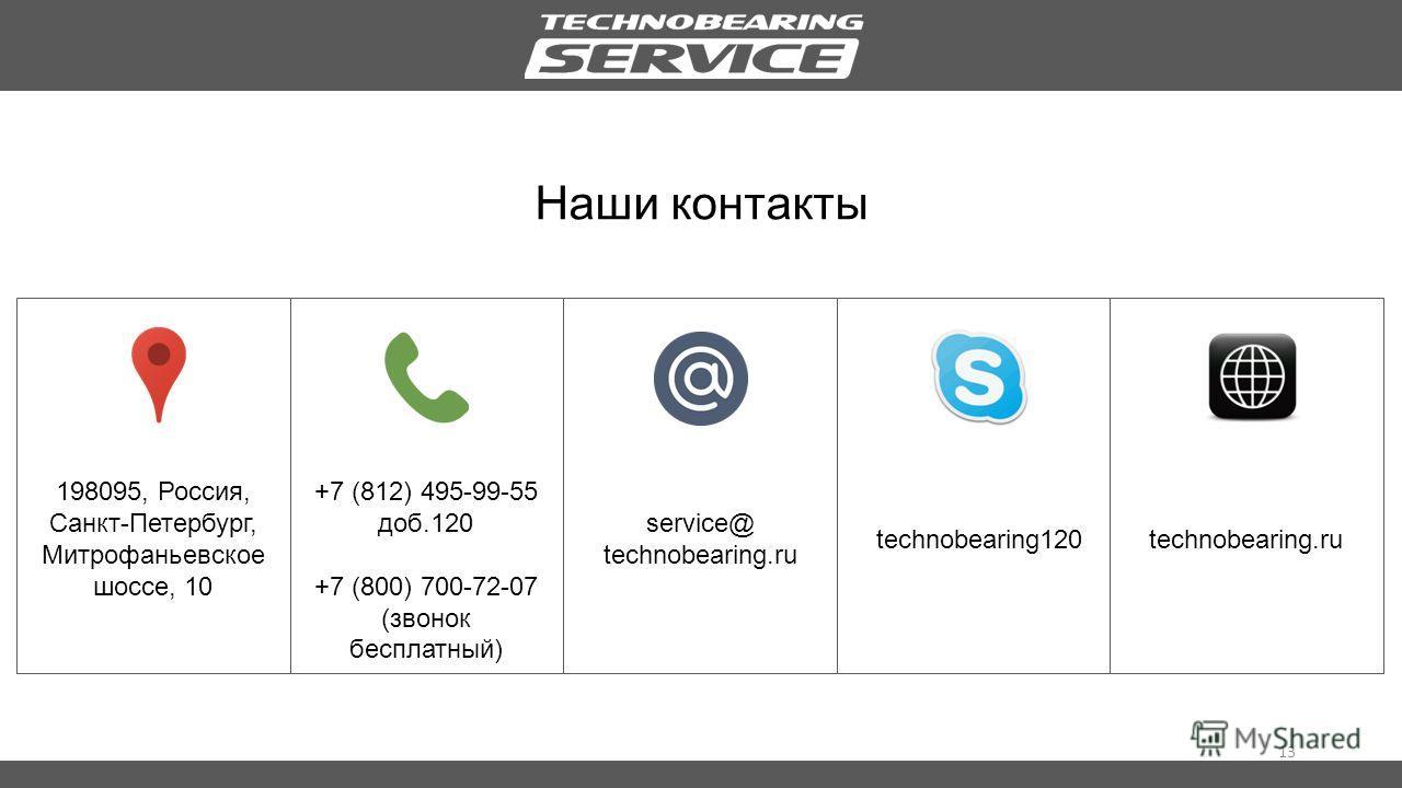 13 Наши контакты 198095, Россия, Санкт-Петербург, Митрофаньевское шоссе, 10 +7 (812) 495-99-55 доб.120 +7 (800) 700-72-07 (звонок бесплатный) service@ technobearing.ru technobearing120technobearing.ru