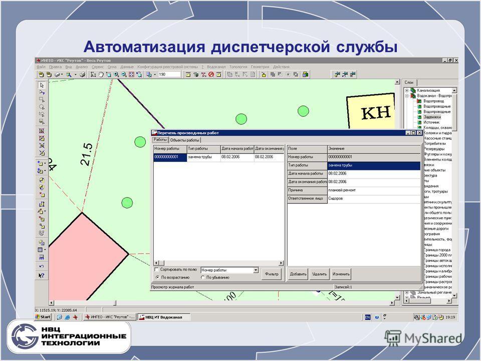 Автоматизация диспетчерской службы.