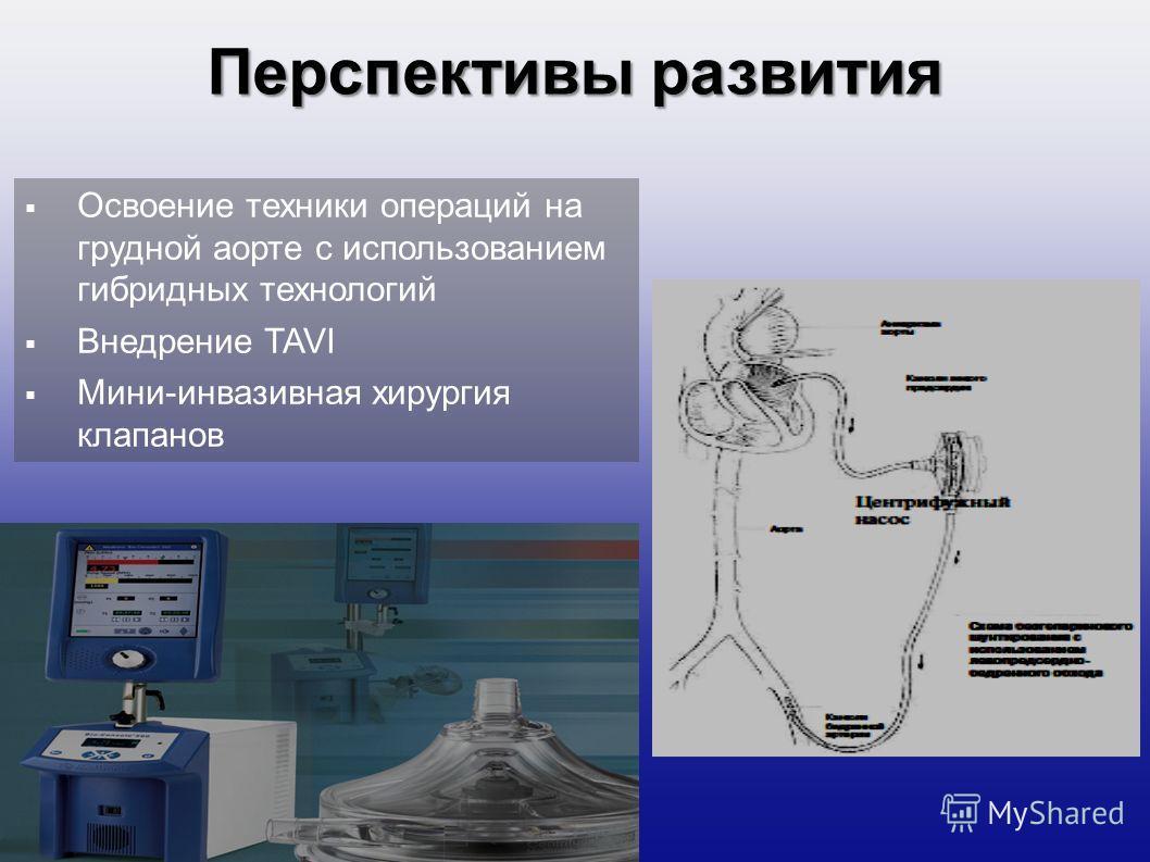 Перспективы развития Освоение техники операций на грудной аорте с использованием гибридных технологий Внедрение TAVI Мини-инвазивная хирургия клапанов
