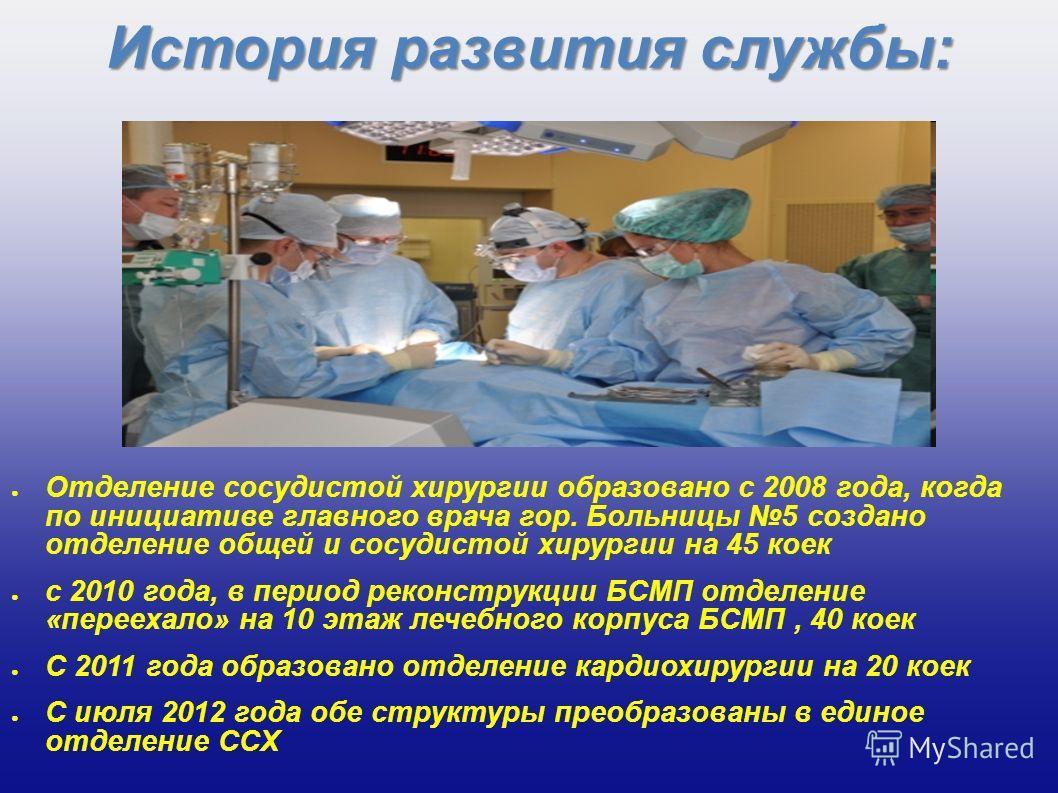 История развития службы: Отделение сосудистой хирургии образовано с 2008 года, когда по инициативе главного врача гор. Больницы 5 создано отделение общей и сосудистой хирургии на 45 коек с 2010 года, в период реконструкции БСМП отделение «переехало»