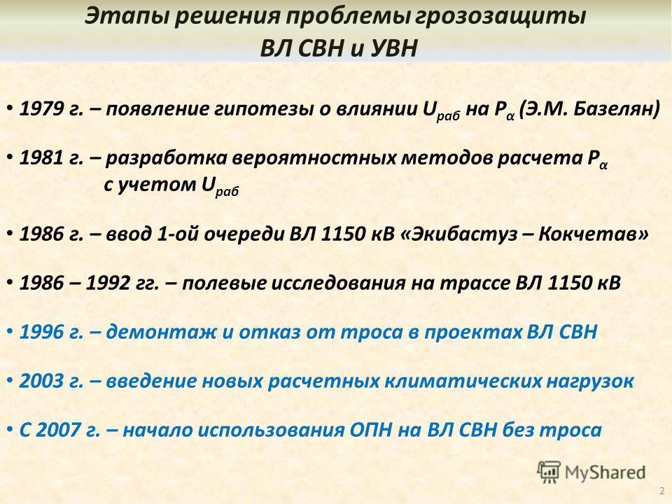1979 г. – появление гипотезы о влиянии U раб на P α (Э.М. Базелян) 1981 г. – разработка вероятностных методов расчета P α с учетом U раб 1986 г. – ввод 1-ой очереди ВЛ 1150 кВ «Экибастуз – Кокчетав» 1986 – 1992 гг. – полевые исследования на трассе ВЛ