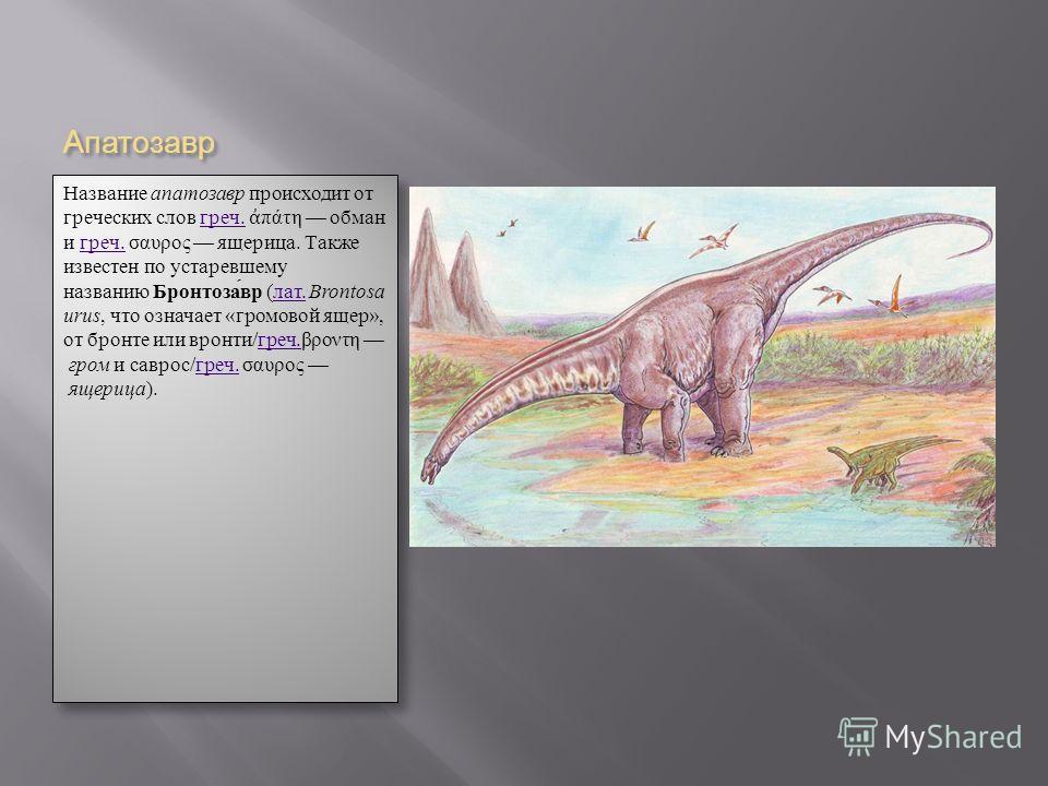 Апатозавр Название апатозавр происходит от греческих слов греч. πάτη обман и греч. σαυρος ящерица. Также известен по устаревшему названию Бронтозавр (лат. Brontosa urus, что означает «громовой ящер», от бронте или вронти/греч.βροντη гром и саврос/гре