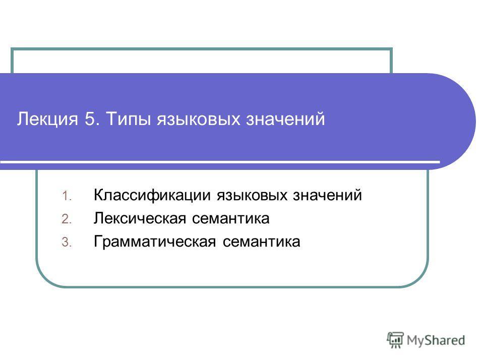 Лекция 5. Типы языковых значений 1. Классификации языковых значений 2. Лексическая семантика 3. Грамматическая семантика