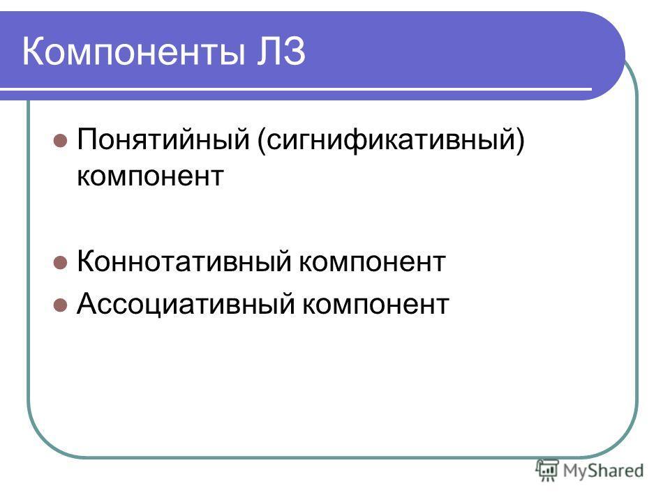 Компоненты ЛЗ Понятийный (сигнификативный) компонент Коннотативный компонент Ассоциативный компонент