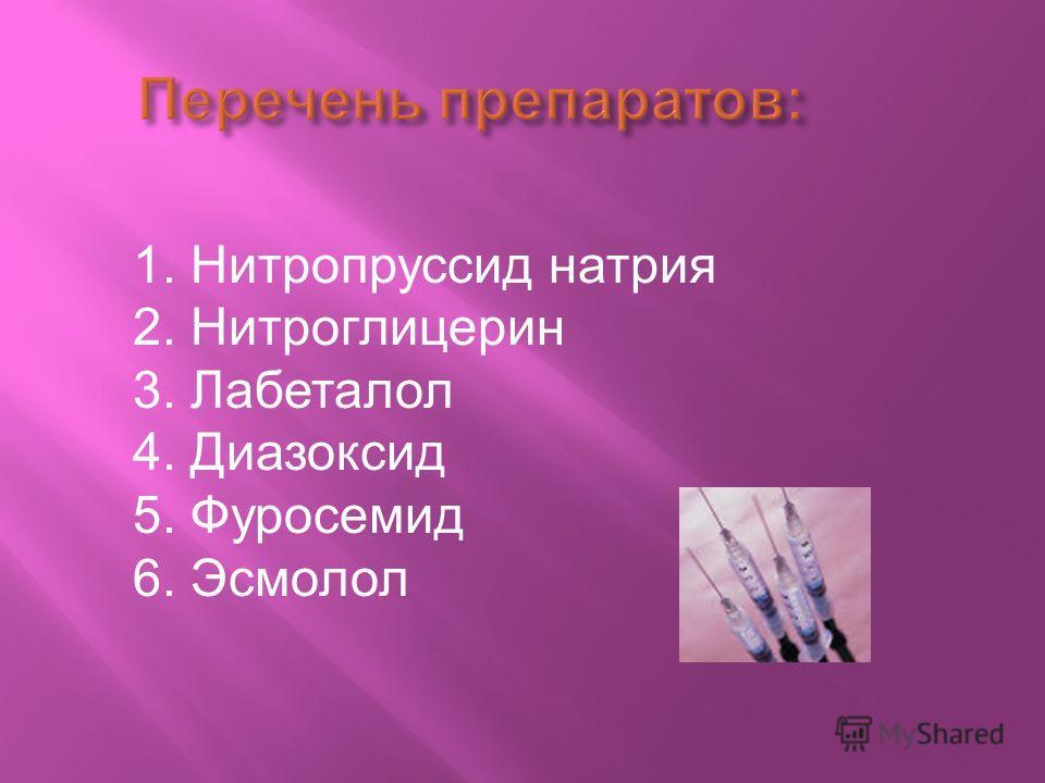Перечень препаратов : 1. Нитропруссид натрия 2. Нитроглицерин 3. Лабеталол 4. Диазоксид 5. Фуросемид 6. Эсмолол