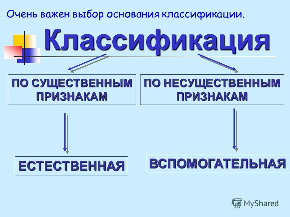 Классификация ПО НЕСУЩЕСТВЕННЫМ ПРИЗНАКАМ ПО СУЩЕСТВЕННЫМ ПРИЗНАКАМ ВСПОМОГАТЕЛЬНАЯ ЕСТЕСТВЕННАЯ Очень важен выбор основания классификации.