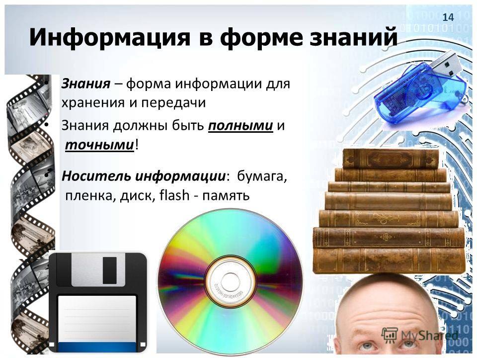 Информация в форме знаний Знания – форма информации для хранения и передачи Знания должны быть полными и точными! Носитель информации: бумага, пленка, диск, flash - память 14