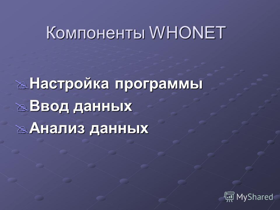 Компоненты WHONET Настройка программы Настройка программы Ввод данных Ввод данных Анализ данных Анализ данных