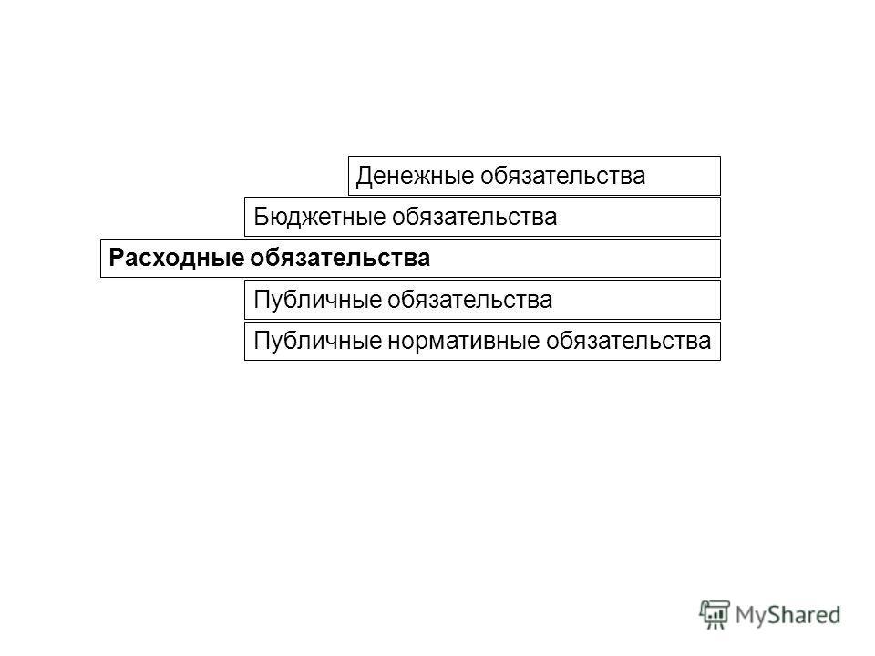 Расходные обязательства Бюджетные обязательства Денежные обязательства Публичные обязательства Публичные нормативные обязательства