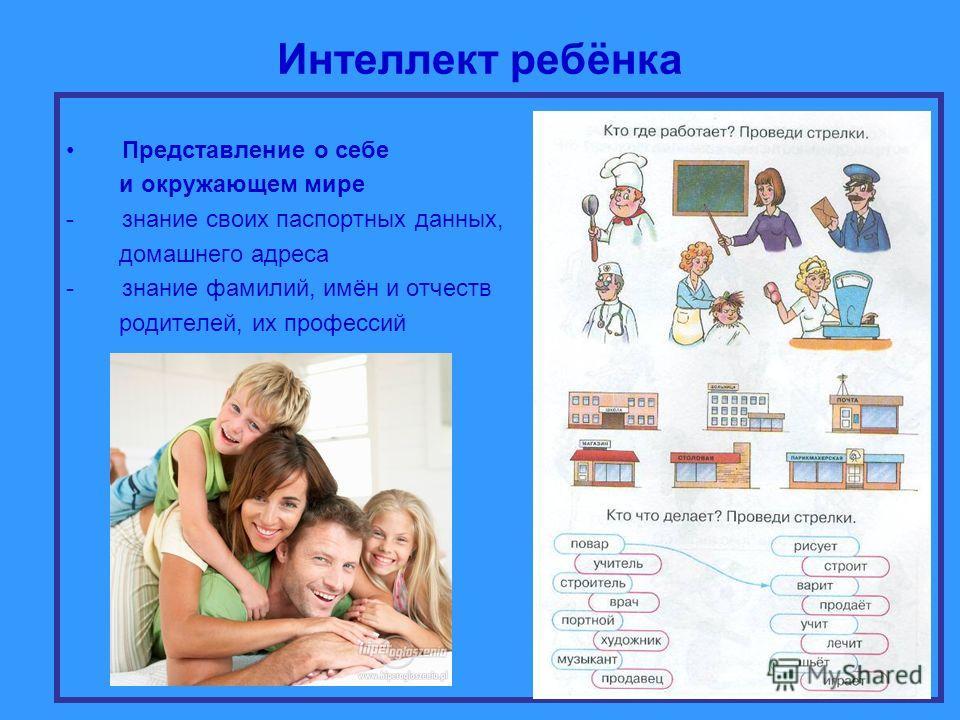 Интеллект ребёнка Представление о себе и окружающем мире -знание своих паспортных данных, домашнего адреса -знание фамилий, имён и отчеств родителей, их профессий