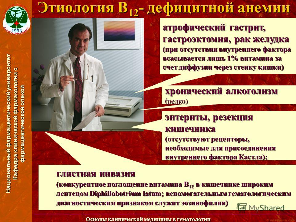 Национальный фармацевтический университет Кафедра клинической фармакологии с фармацевтической опекой Основы клинической медицины в гематологии Этиология В 12 - дефицитной анемии атрофический гастрит, гастроэктомия, рак желудка (при отсутствии внутрен