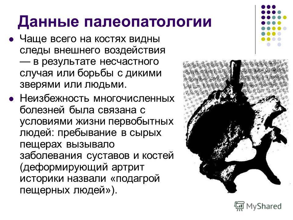 Данные палеопатологии Чаще всего на костях видны следы внешнего воздействия в результате несчастного случая или борьбы с дикими зверями или людьми. Неизбежность многочисленных болезней была связана с условиями жизни первобытных людей: пребывание в сы