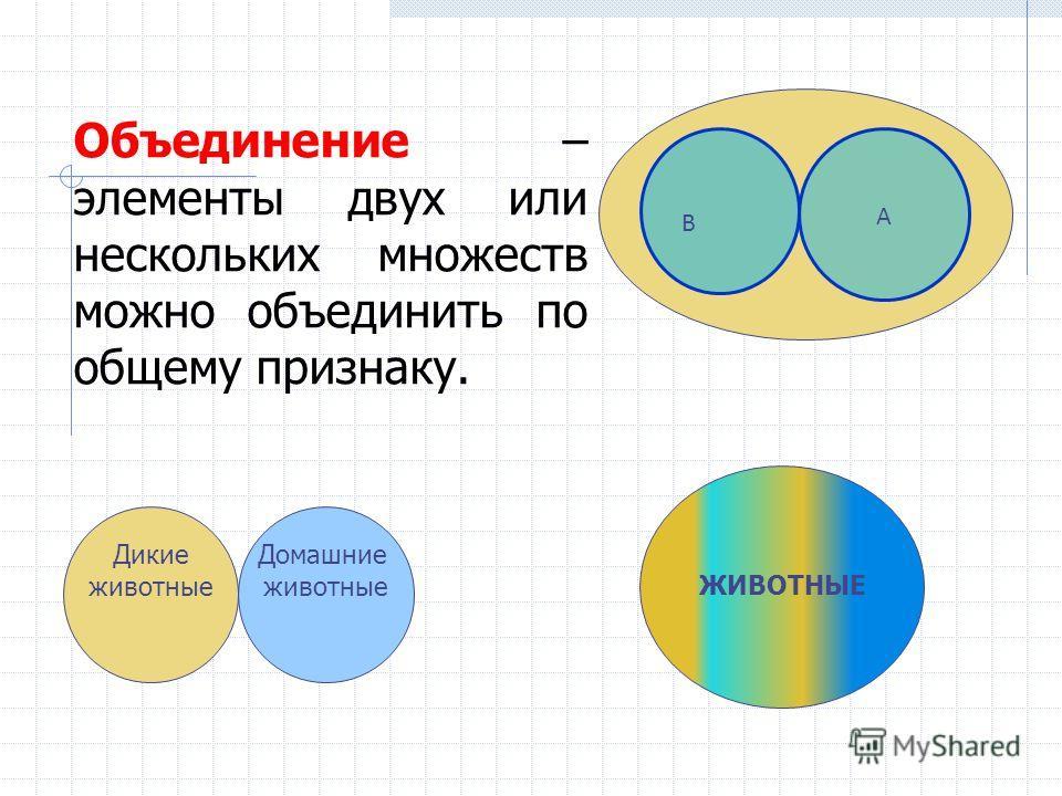 ЖИВОТНЫЕ А В Объединение – элементы двух или нескольких множеств можно объединить по общему признаку. Дикие животные Домашние животные