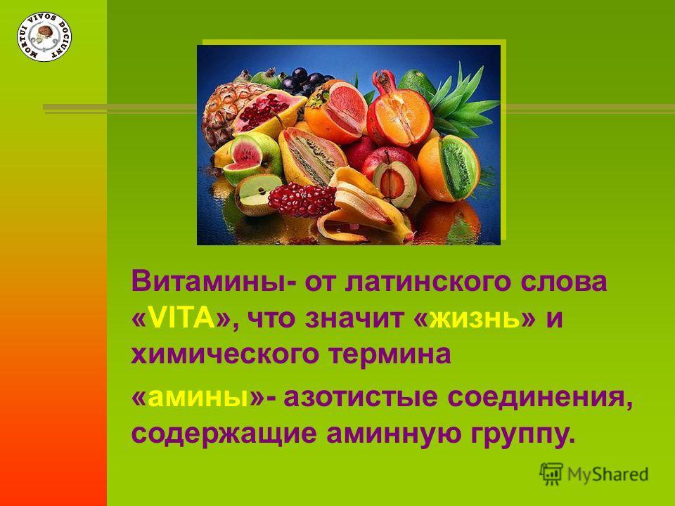Витамины- от латинского слова «VITA», что значит «жизнь» и химического термина «амины»- азотистые соединения, содержащие аминную группу.