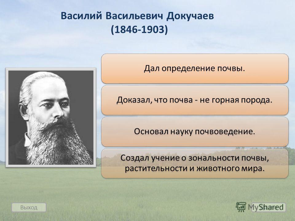 Выход Далее Василий Васильевич Докучаев (1846-1903) Дал определение почвы.Доказал, что почва - не горная порода.Основал науку почвоведение. Создал учение о зональности почвы, растительности и животного мира.