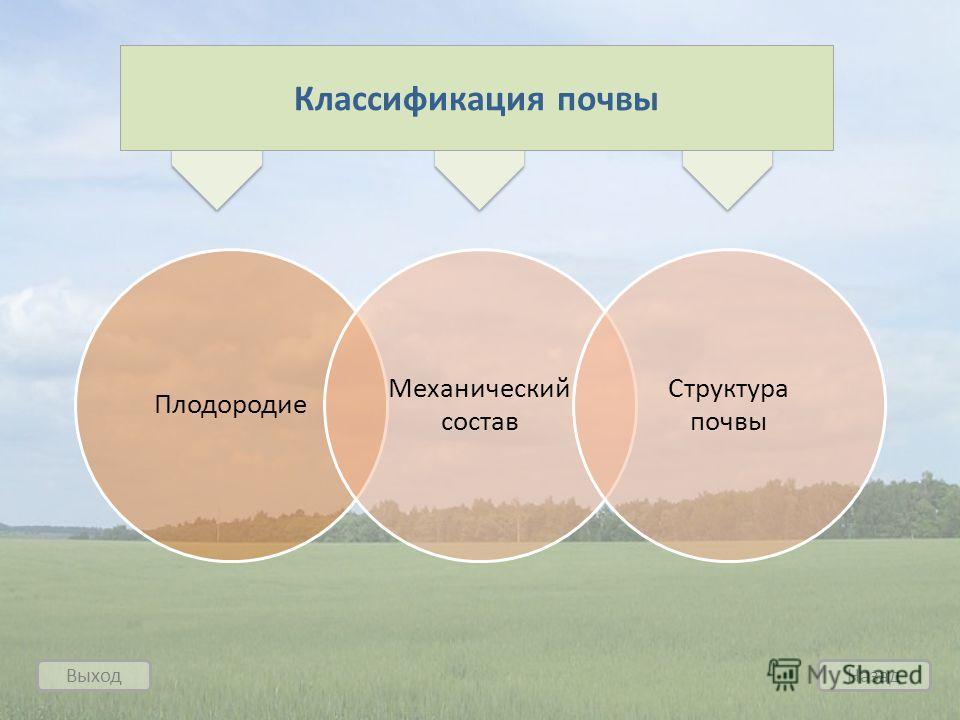 Выход Назад Плодородие Механический состав Структура почвы Классификация почвы