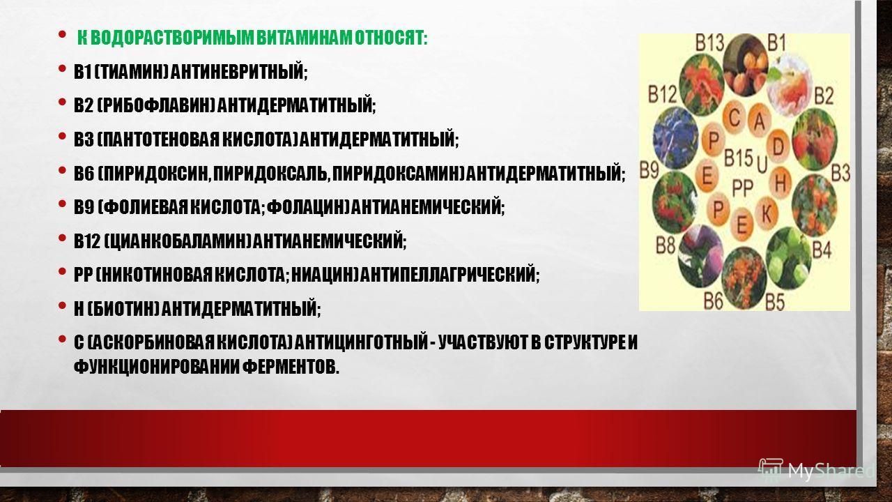 К ВОДОРАСТВОРИМЫМ ВИТАМИНАМ ОТНОСЯТ: B1 (ТИАМИН) АНТИНЕВРИТНЫЙ; B2 (РИБОФЛАВИН) АНТИДЕРМАТИТНЫЙ; B3 (ПАНТОТЕНОВАЯ КИСЛОТА) АНТИДЕРМАТИТНЫЙ; B6 (ПИРИДОКСИН, ПИРИДОКСАЛЬ, ПИРИДОКСАМИН) АНТИДЕРМАТИТНЫЙ; B9 (ФОЛИЕВАЯ КИСЛОТА; ФОЛАЦИН) АНТИАНЕМИЧЕСКИЙ; B1