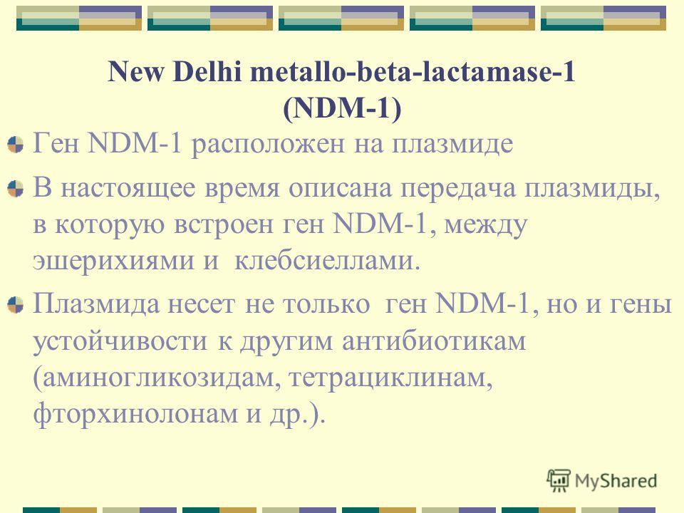 New Delhi metallo-beta-lactamase-1 (NDM-1) Ген NDM-1 расположен на плазмиде В настоящее время описана передача плазмиды, в которую встроен ген NDM-1, между эшерихиями и клебсиеллами. Плазмида несет не только ген NDM-1, но и гены устойчивости к другим