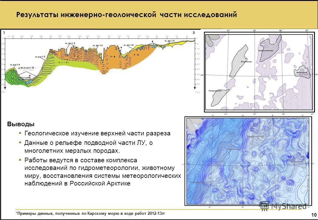 10 Результаты инженерно-геолоической части исследований Выводы Геологическое изучение верхней части разреза Данные о рельефе подводной части ЛУ, о многолетних мерзлых породах. Работы ведутся в составе комплекса исследований по гидрометеорологии, живо