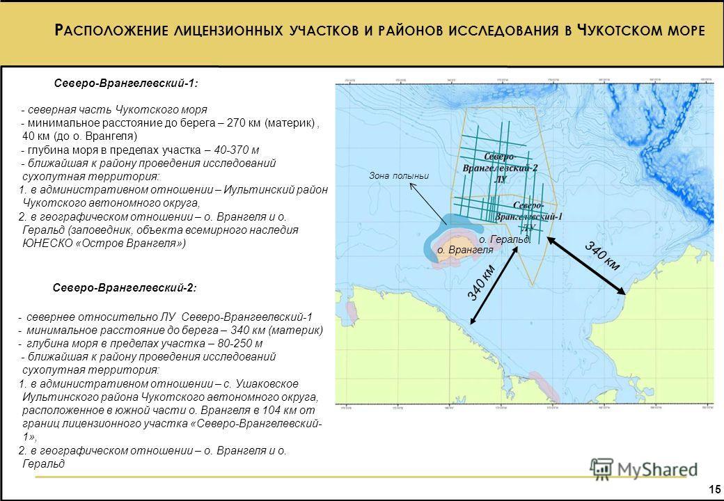 15 15 Северо-Врангелевский-1: - северная часть Чукотского моря - минимальное расстояние до берега – 270 км (материк), 40 км (до о. Врангеля) - глубина моря в пределах участка – 40-370 м - ближайшая к району проведения исследований сухопутная территор