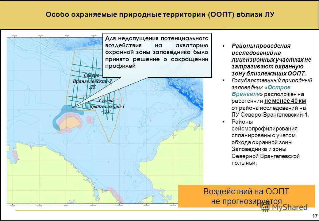 17 Особо охраняемые природные территории (ООПТ) вблизи ЛУ Новосибирские острова Для недопущения потенциального воздействия на акваторию охранной зоны заповедника было принято решение о сокращении профилей Воздействий на ООПТ не прогнозируется Районы