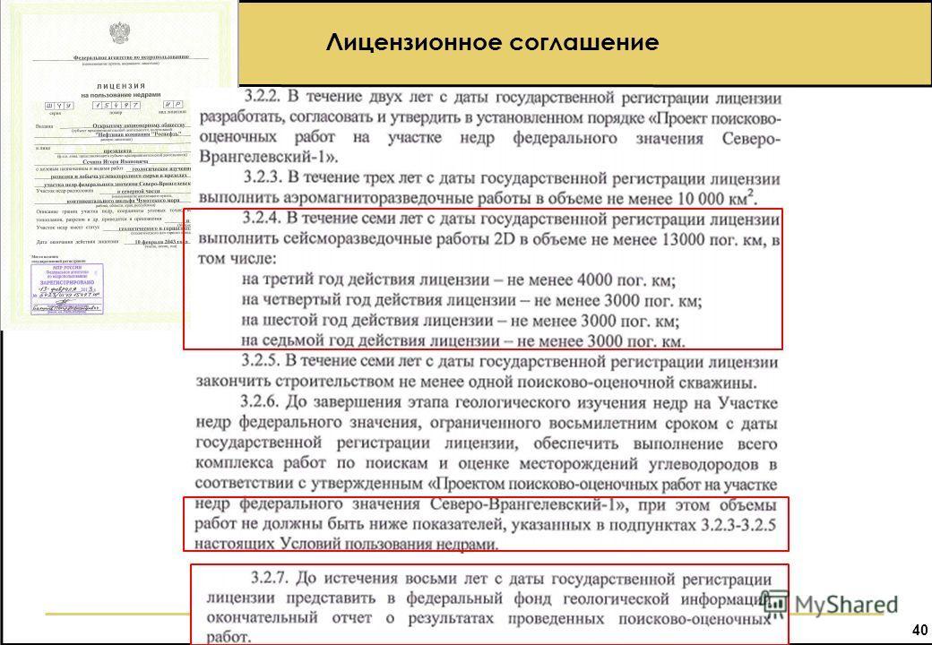 40 Лицензионное соглашение