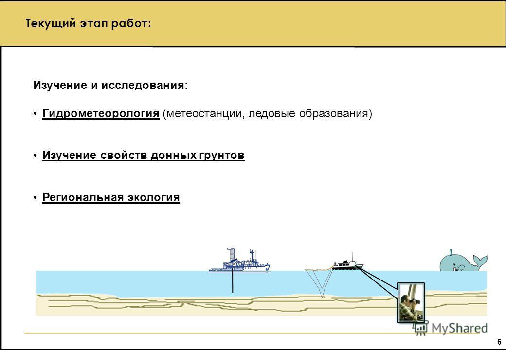 6 Текущий этап работ: Изучение и исследования: Гидрометеорология (метеостанции, ледовые образования) Изучение свойств донных грунтов Региональная экология