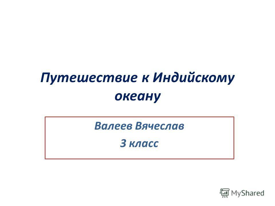 Путешествие к Индийскому океану Валеев Вячеслав 3 класс