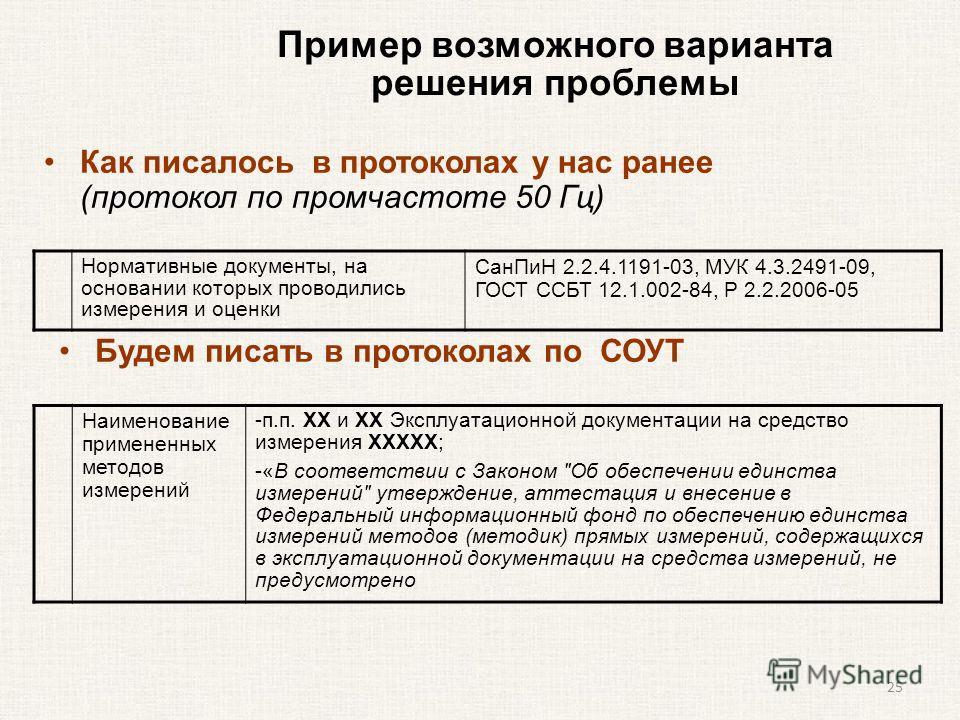 Пример возможного варианта решения проблемы Нормативные документы, на основании которых проводились измерения и оценки Сан ПиН 2.2.4.1191-03, МУК 4.3.2491-09, ГОСТ ССБТ 12.1.002-84, Р 2.2.2006-05 Как писалось в протоколах у нас ранее (протокол по про