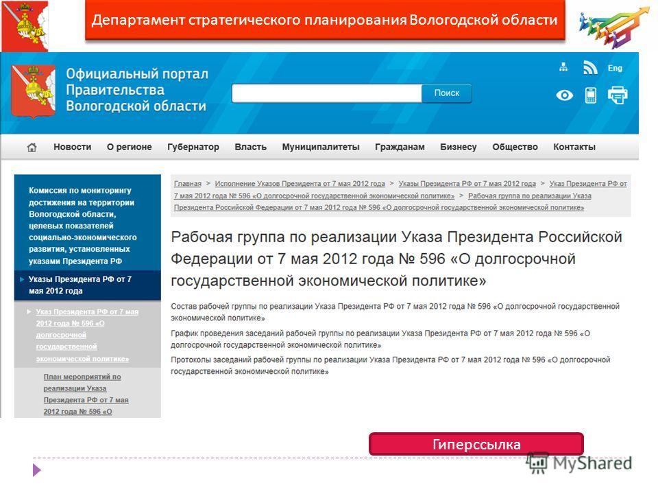 Департамент стратегического планирования Вологодской области Гиперссылка