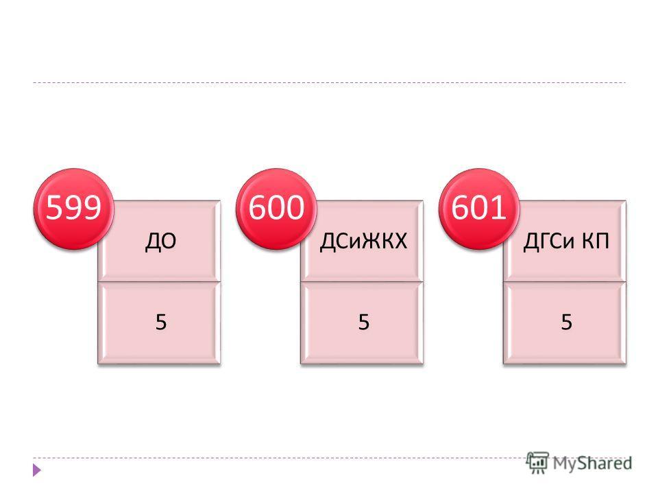 ДО 5 599 ДСиЖКХ 5 600 ДГСи КП 5 601