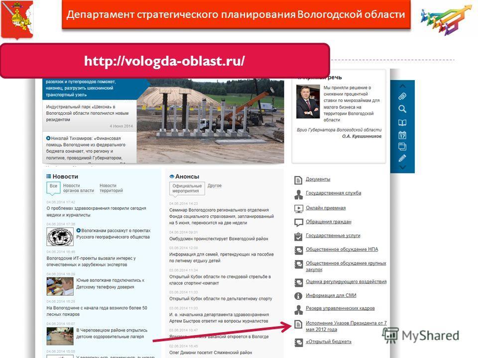http://vologda-oblast.ru/ Департамент стратегического планирования Вологодской области