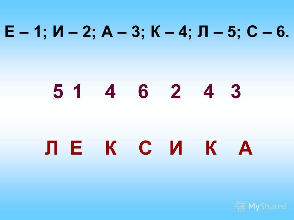 Е – 1; И – 2; А – 3; К – 4; Л – 5; С – 6. 51 4 6 2 4 3 Л Е К С И К А