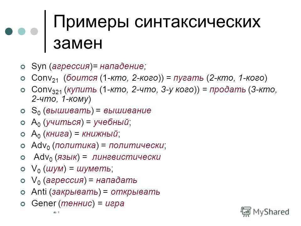 21 Примеры синтаксических замен Syn (агрессия)= нападение; Conv 21 (боится (1-кто, 2-кого)) = пугать (2-кто, 1-кого) Conv 321 (купить (1-кто, 2-что, 3-у кого)) = продать (3-кто, 2-что, 1-кому) S 0 (вышивать) = вышивание A 0 (учиться) = учебный; A 0 (