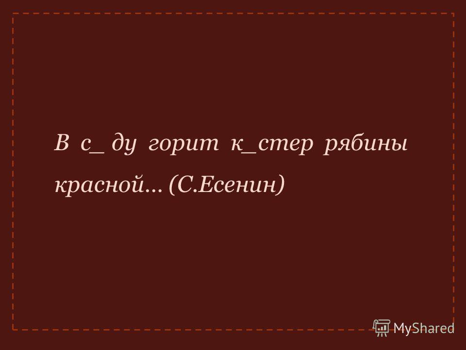 В с_ ду горит к_стер рябины красной… (С.Есенин)